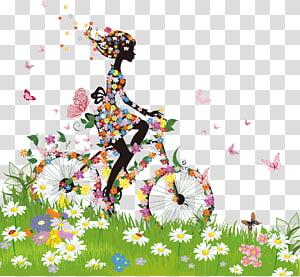 bicicleta de mulher com ilustração de flores, bicicleta flor, material de silhueta de mulher primavera colorida PNG clipart