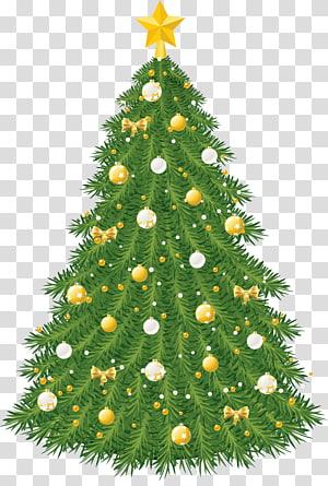 ilustração de árvore de Natal verde e amarela, enfeite de árvore de Natal, grande árvore de Natal com ornamentos de ouro e branco PNG clipart