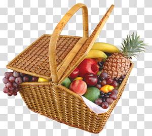 variedade de frutas na cesta de piquenique retangular marrom, cesta de frutas, cesta de frutas png