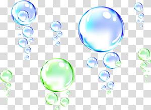 ilustração verde e azul bobbles, gota de água bolha, bolha de água png