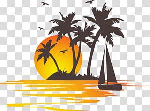 silhueta de ilhota e barco durante a ilustração hora dourada, ponto de cruz bordado, tema de férias de verão PNG clipart