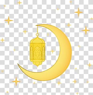 Ramadan, lanterna lua, meia-lua com ilustração de estrelas PNG clipart