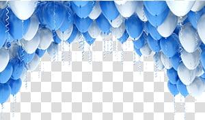 Ilustração de balão azul, arcos de balão, balões azuis e brancos png