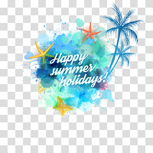 boas férias de verão!texto, verão, verão coco e estrela do mar PNG clipart