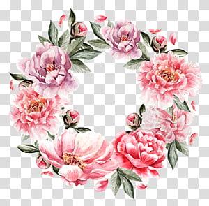 Grinalda de pintura de flores, cluster de flores pintadas à mão, grinalda floral rosa e vermelha PNG clipart