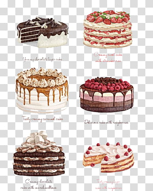 Seis bolos variados, Bolo de chocolate Bolo de morango Bolo de anjo Torte, Bolo de aquarela png