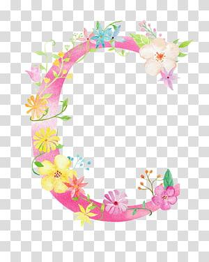 ilustração de flores rosa e amarelo, fonte inicial da letra C, letra flores C PNG clipart