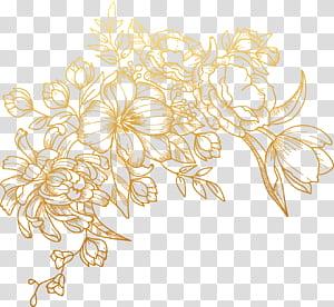 Flor euclidiana, flores douradas pintadas, ilustração floral marrom PNG clipart