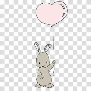 coelho cinzento, segurando a etiqueta do balão de coração, coelho coelhinho da Páscoa Leporids balão, segurando o coelho de balões png