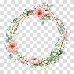 ilustração de grinalda floral verde e rosa, grinalda de convite de casamento pintura de aquarela grinalda de flor, grinalda aquarela PNG clipart
