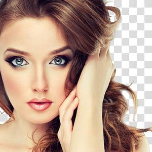 Escova de maquiagem cosméticos Fundação beleza, modelos de maquiagem na Europa, close-up do rosto de mulher PNG clipart
