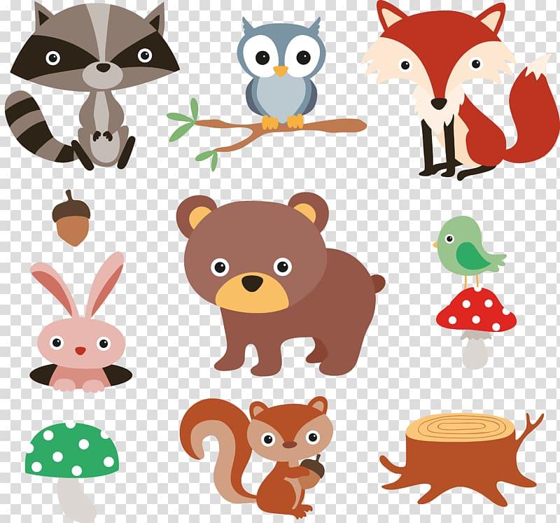 Esquilo guaxinim Cartoon Forest, 9 animais da floresta dos desenhos animados e material de plantas, animal PNG clipart