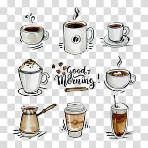 ilustração de bebidas sortidas com sobreposição de texto de bom dia, ícone euclidiano de café, coleção de xícara de café png