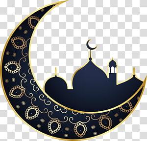 ilustração de lua crescente azul e amarelo, lua de ramadan eid al-fitr islam, slamic PNG clipart