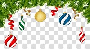 Decoração de Natal Enfeite de Natal, enfeites de Natal Deco, grinalda verde com enfeites PNG clipart