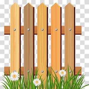Cerca de piquete Jardim, cerca de madeira do jardim com grama, ilustração da cerca de madeira marrom perto das flores brancas png