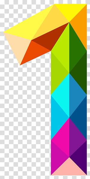 Número cor, triângulos coloridos número um, multicolorido 1 ilustração PNG clipart