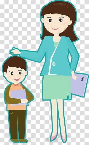 ilustração de mulher e menino, professor de aluno Professor de aluno, professor s PNG clipart