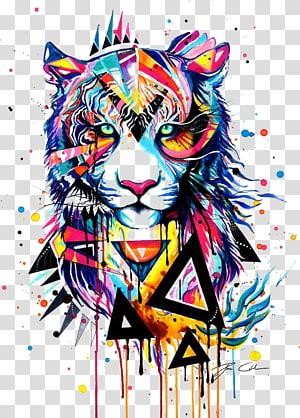 pintura abstrata do tigre, pintura em aquarela tigre desenho ilustração, tigre png
