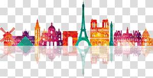 Ilustração da Torre Eiffel, Paris Drawing Skyline Illustration, Reino Unido Silhuetas coloridas do edifício da cidade PNG clipart