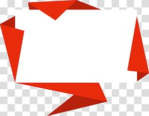 Caixa de texto de origami, bordas decorativas de origami, ilustração de papel branco e vermelho png