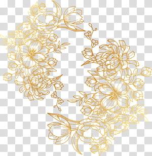 flores douradas pintadas, etiqueta floral dourada PNG clipart