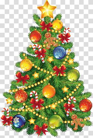 Árvore de Natal, grande árvore de Natal com ornamento de gengibre, ilustração da árvore de Natal com enfeites PNG clipart