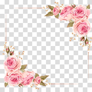 Convite de casamento Flower Rose Pink, Rose Border, moldura digital rosa flor rosa png