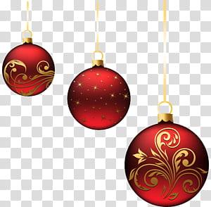 Enfeite de Natal Decoração de Natal, enfeites de bolas vermelhas de Natal, três ilustrações de bugiganga vermelha png