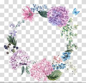 Convite de casamento de hortênsia Ilustração de flor, desenho de flores em aquarela pintada à mão, ilustração de flores em cores sortidas PNG clipart