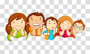 ilustração de cinco crianças, ilustração de cartão de passagem de fronteira infantil, crianças em idade escolar PNG clipart
