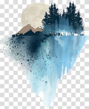 pintura da floresta, pintura da aguarela arte desenho pintura de paisagem, pintura png