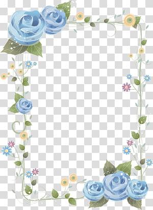 Flor azul rosa quadros, fronteira chinesa, flores azuis e verdes quadro ilustração PNG clipart