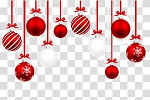 enfeites vermelhos e brancos, enfeite de natal ilustração, bolas de natal png