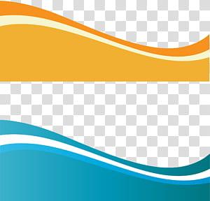 Arte de onda dinâmica euclidiana, dois azul-petróleo e onda amarela PNG clipart