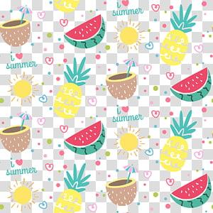abacaxi e melancia, frutas de verão frutas de verão, verão colorido png