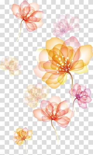 Efeito de espalhar flores, flores amarelas e vermelhas png
