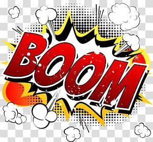 Ilustração de quadrinhos de quadrinhos desenhos animados, nuvem de explosão em quadrinhos BOOM, ilustração de palavra de crescimento multicolorido PNG clipart