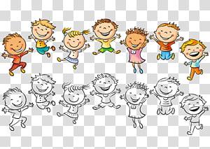 Criança desenho felicidade ilustração, pulando crianças, crianças ilustração PNG clipart