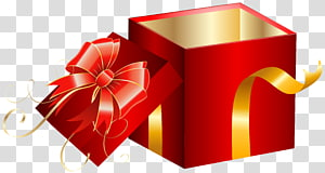 caixa de presente vermelha, caixa de presente, caixa de presente vermelha aberta PNG clipart