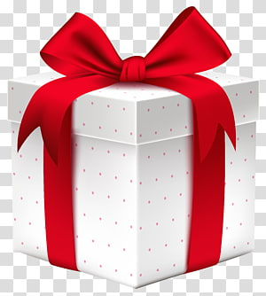 Caixa de presente, caixa de presente branca com laço vermelho, ilustração de caixa de presente vermelha e branca PNG clipart