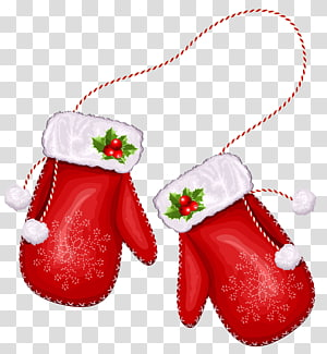 par de luvas de neve de Natal em vermelho e branco, luva vermelha, luvas grandes de Papai Noel de Natal png
