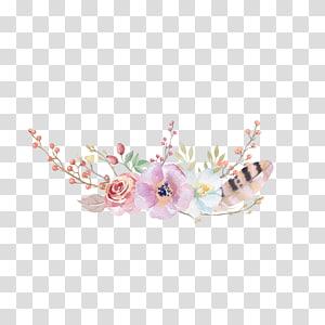 cor-de-rosa e branco, flor, boho-chic flor, aquarela, pintura, desenho floral, pintados à mão, flores PNG clipart