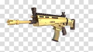 ilustração de espingarda de cor dourada, Fortnite Battle Royale arma FN SCAR, arma png