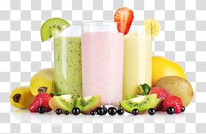 copos transparentes e frutas sortidas, suco de batido de fruta com banana, batidos png