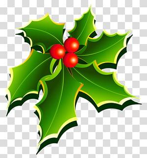 Adesivo de decoração de Natal de visco, visco, verde e vermelho png