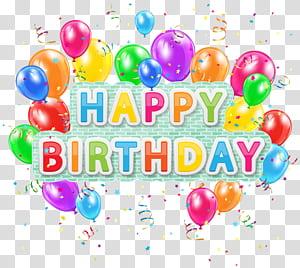 Aniversário de balão, feliz aniversário Deco texto com balões, feliz aniversário texto e balões ilustração png