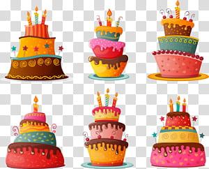 Bolo de aniversário Cupcake Bolo de chocolate, bolo de aniversário dos desenhos animados, seis ilustrações de bolo png