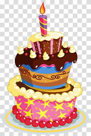 Bolo de aniversário, bolo de aniversário colorido, ilustração de bolo de 3 camadas de cores sortidas png