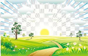 nascer do sol no campo de grama verde, natureza paisagem euclidiana, paisagem do nascer do sol PNG clipart